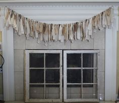 Shabby Chic Neutral Rag Banner Rag Garland by AcadianBelle on Etsy.  Great for a summer fireplace! So rustic and shabby chic!