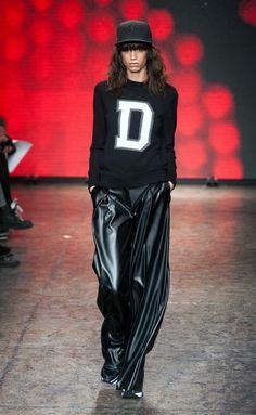 DKNY RF14 0726 pantalón ancho cuero
