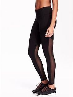 Size Large (also in Tall if available): Mesh-Panel Compression Leggings   Old Navy
