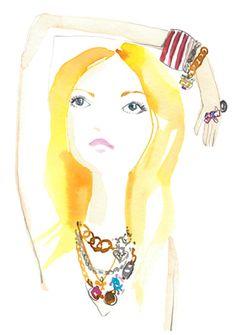 Illustration by Sujean Rim Let's Make Art, Fashion Sketches, Fashion Illustrations, Watercolor Artwork, Color Rosa, Cute Jewelry, Vintage Posters, Fashion Art, Design Art