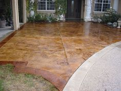 Acid Stained Concrete | Acid Stained 1/4 Inchstamped Overlay Over Existing  Concrete, Gloss