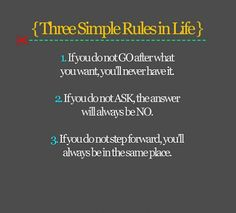 Three Simple Rules in Life~