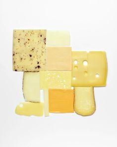"Seed-spiced cheese, Queso, ""Cheddar style"", Emental mini meule, Västgöta kloster, Cheddar & Mahon de menorca on Corian by Carl Kleiner"