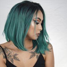 Gorgeous Green Bob. DIY your unicorn hair color. https://www.ywigs.com Cheap Full Lace Wigs Cheap Lace Front Wigs Cheap 360 Lace Frontal Wigs Cheap Brazilian Hair Cheap Peruvian Hair Lace Closure Lace Frontal