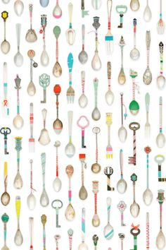 Teaspoon wallpaper for the kitchen! Would be perfect on ONE wall...a little overwhelming on all of them.