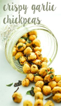 Roasted Garlic Chickpeas – the BEST snack. Previous pinner says: I try to bake a double batch every weekend to keep on hand all week. Perfect for late night salty cravings. Chickpea Recipes, Vegan Recipes, Snack Recipes, Cooking Recipes, Chickpea Ideas, Tostadas, Tapas, Healthy Snacks, Healthy Eating