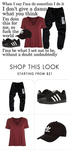 """Be a real G //I'm manning up, I'ma hold my ground I've had enough, now I'm so fed up // Not Afraid By Eminem"" by lost-girl-reily ❤ liked on Polyvore featuring adidas, Topshop and adidas Originals"