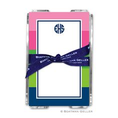 Bold Stripe Pink, Green & Navy note sheets by Boatman Geller #Stationery #Monograms