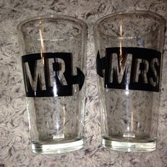 Mr & Mrs 16oz Pub Glass  #IDO #MR&MRS #SHESAIDYES #WeddingDecor Customized Gifts, Custom Gifts, Vinyl Paper, Mr Mrs, Great Photos, Photo Props, Abbotsford Bc, Birthday Gifts, Craft Projects