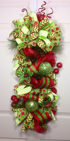 Christmas Mesh Swag by WilliamsFloral on Etsy Christmas Mesh Wreaths, Christmas Swags, Christmas Door, All Things Christmas, Christmas Holidays, Merry Christmas, Winter Wreaths, Outdoor Christmas, Whimsical Christmas