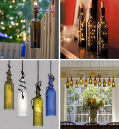 Great ideas for recycling wine bottles...into your home decor!