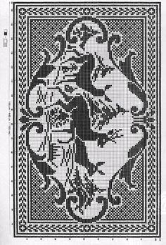 Filet Crochet Rug - Deer
