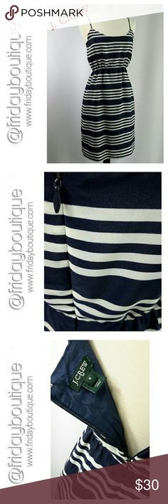 """J. Crew Dress Runs large. Size 0 on tag but fits size 2 so I listed as size 2 Navy blue & White stripes. Dress is fully lined. On mannequin dress hangs 34"""". J. Crew Dresses"""