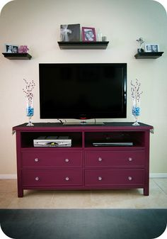 painted dresser as a TV stand...would use a different color. Love the shape of this one