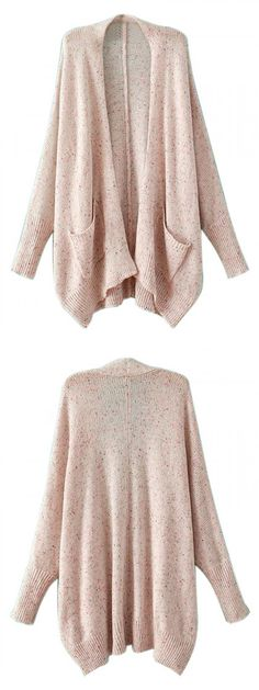 Pink open front cardigan is always in fashion. See more on CHOIES.COM.