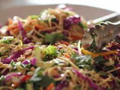 Asian Noodle Salad recipe from Ree Drummond via Food Network - Substitute Zucchini Noodles for Spaghetti Noodles