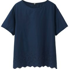 UNIQLO Embroidery Short Sleeve Blouse ($20) ❤ liked on Polyvore featuring tops, blouses, shirts, t-shirts, transparent blouse, blue blouse, short sleeve shirts, short-sleeve shirt and uniqlo shirts