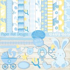Baby Boy Clipart and Baby Boy Digital Paper Set-Baby Clip