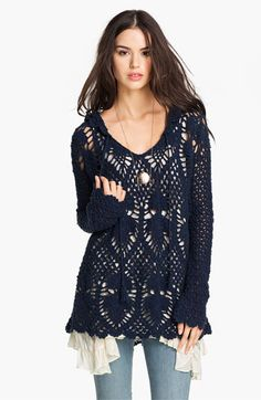 Free People 'Pacifica' Hooded Crochet Tunic available at #Nordstrom
