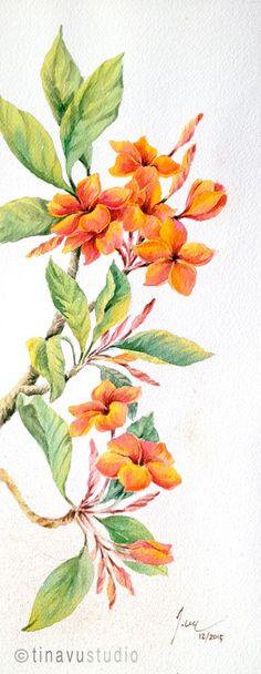 Plumeria watercolor painting. Plumeria painting. by TinaVuStudio