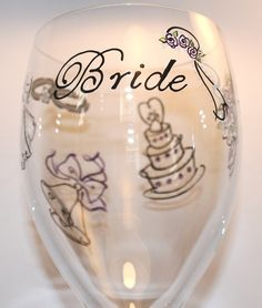 BRIDE Painted Wine Glass, Wedding, Elegant - Hand-painted & Personalized
