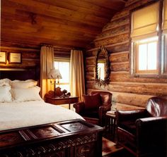 this log cabin bedroom~ LM wood paneling/log cabin look, gorgeous hope chest - rustic romantic cabin - Cozy Cozy Bedroom, Bedroom Decor, Master Bedroom, Bedroom Ideas, Trendy Bedroom, Bedroom Retreat, Bedroom Plants, Bedroom Office, Dream Bedroom