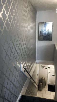 Camden Trellis Wallpaper Soft Grey, Silver (H980527). A beautiful, unique twist to glam up your Bedroom. #Wallpaper #ilovewallpaper #Home #Homeinterior #InteriorDesign #HomeInspo #Bedroom #Wall #FeatureWall