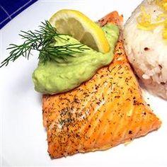 Grilled Salmon with Avocado Dip Recipe - avocados, garlic, greek-style yogurt, lemon juice, salt and pepper; salmon, dried dill weed, lemon pepper, salt