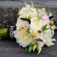 Real Weddings - An Outdoor Wedding in Lenox, MA - White and Pink Bouquet