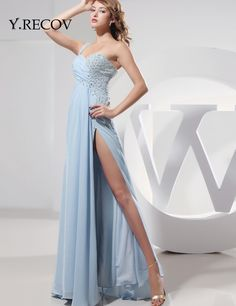 Sexy Long Dresses 2017 YD2120 A-line Beading Front Slit Sky Blue Prom Dresses One Shoulder Rhinestone Party Dresses
