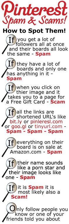 Pinterest Spams and Scams and how to spot them. Rampant.....