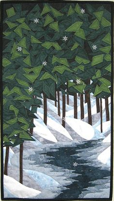 Fabric Art Quilts detailed description and methods Landscape Art Quilts, Landscape Paintings, Landscape Design, Landscapes, Tree Quilt, Quilt Art, Art Quilting, Machine Quilting, Winter Quilts