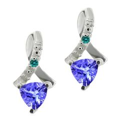 0.44 Ct Trillion Blue Tanzanite and Blue Diamond 10k White Gold Earrings Gem Stone King. $124.99. This Item Contains 100% Natural Stones. This item is proudly custom made in the USA
