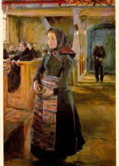 Girl in the Old Church of Keuruu by Akseli Gallen-Kallela, 1889 Modern Art, Contemporary Artists, Losing My Religion, Merian, Piet Mondrian, Hippie Art, Scandinavian Modern, Life Paint, Great Artists