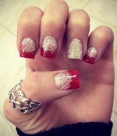 Red and White Glitter Nail Art.