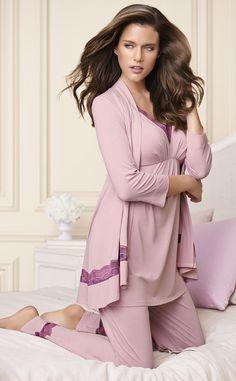 NEW! Embraceable Deco Lace Wrap, Thank & Pant in Rosette #SomaIntimates #pajamas