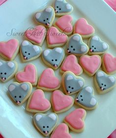 Valentine's Day Mice cookies and Heart cookies - Valentine MINI Cookies - 2 dozen by SweetArtSweets on Etsy https://www.etsy.com/listing/119113031/valentines-day-mice-cookies-and-heart