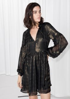 amp  Other Stories image 1 of Metallic Silk Mini Dress in Black Party  Dresses Online 79c9b4047