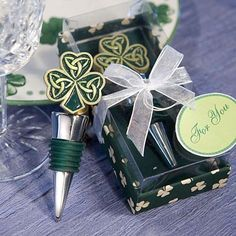 Shamrock Trinity love knot design wine bottle stopper favors will bring good luck and a little Celtic inspiration to all.t be just Irish eyes that will be smiling when family and friends receive these unique wine themed favors. Beach Wedding Favors, Unique Wedding Favors, Wedding Gifts, Wedding Ideas, Wedding Stuff, Wedding Planning, Dream Wedding, Wedding Inspiration, Fall Wedding