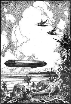 The O-220, some Edgar Rice Burroughs-themed artwork by Roy G. Krenkel.