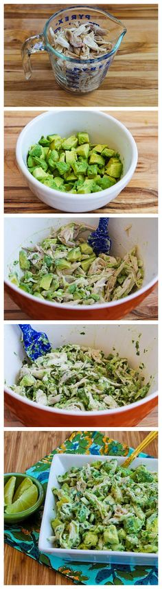 Chicken and Avocado Salad with Lime and Cilantro. I'm thinking this would also work subbing plain Greek yogurt for the mayo.