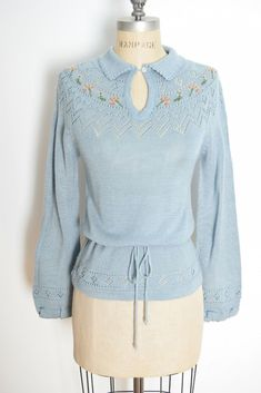 e719d25e290c3c vintage 70s sweater blue floral pointelle crochet hippie jumper top shirt S  f