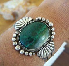 Vintage Malachite Native American Bracelet by OldTreazureTrunk, $195.00