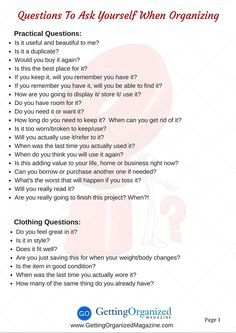 Stuck with your organizing situation? These questions will get you unstuck! (page 1 of 2)