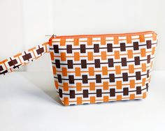 Black and Orange retro cosmetic / make up pouch #clutch #BridesmaidClutch