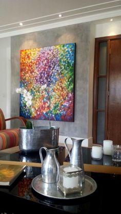 Quadro abstrato multicolorido pintado a mão, vertical 140x160 COD 1077