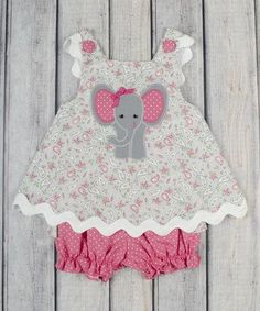 Diy Crafts - zulilyfinds-Look at this zulilyfind! Gray Paisley Elephant Bow Top & Bloomers - Infant & Toddler by Stellybelly zulilyfinds Toddler Dress, Toddler Outfits, Kids Outfits, Infant Toddler, Baby Sewing Projects, Sewing For Kids, Baby Dress Patterns, Baby Girl Dresses, Baby Girls
