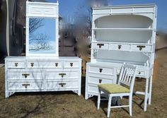 Shangri La Dixie Dresser Mirror Desk Hutch Chest set white