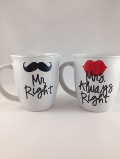 Mr Right, Mrs Always Right Coffee Mug Set, Bride/Groom Wedding Engagement Gift on Etsy, $24.00