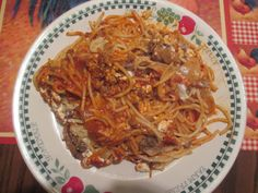 Lasangne Bake - made with spaghetti, cottage cheese, shredded mozz., provolone cheese, Ragu, mushrooms, onions - seasoned with garlic and Italian seasoning